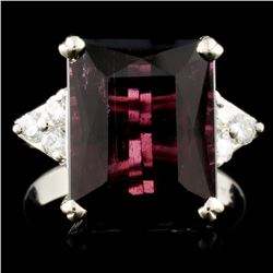 14K Gold 7.92ct Tourmaline & 0.23ctw Diamond Ring