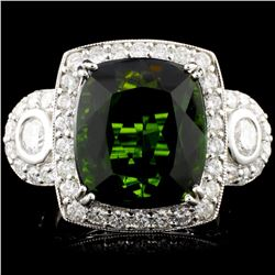 14K Gold 13.08ct Tourmaline & 1.59ctw Diamond Ring