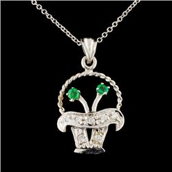 14K Gold 0.17ctw Emerald & 0.13ctw Diamond Pendant