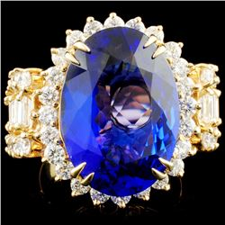 14K Gold 11.22ct Tanzanite & 2.61ctw Diamond Ring
