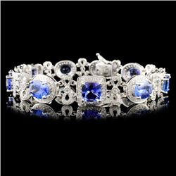 14K Gold 13.09ct Tanzanite & 1.77ct Diamond Bracel