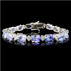 14K Gold 20.7ct Tanzanite & 0.8ctw Diamond Bracele
