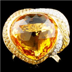14K Gold  14.22ct Citrine & 0.27ctw Diamond Ring