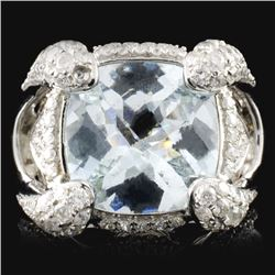 18K White Gold 4.29ct Aquamarine & 1.21ct Diamond