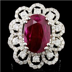 18K Gold 6.07ct Ruby & 1.80ctw Diamond Ring