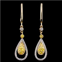 14K Gold 0.33ctw Fancy Diamond Earrings