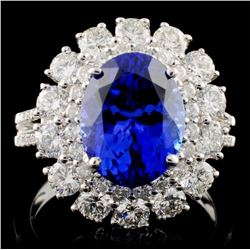 18K Gold 3.90ct Tanzanite & 1.63ct Diamond Ring