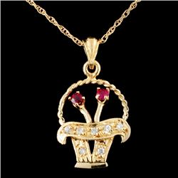 14K Gold 0.19ctw Ruby & 0.13ctw Diamond Pendant