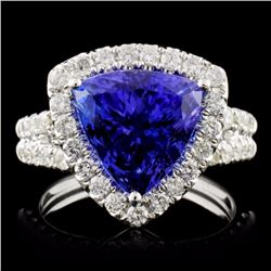 18K Gold 5.40ct Tanzanite & 1.10ct Diamond Ring