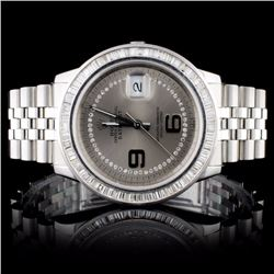 Rolex SS DateJust Men's 2.50CT Diamond Wristwatch