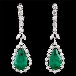18K Gold 4.41ctw Emerald & 1.66ctw Diamond Earring