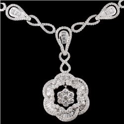 14K White Gold 3.70ctw Diamond Necklace