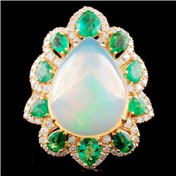 18K Gold 7.29ct Opal & 0.58ctw Diamond Ring