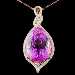 14K Gold 28.58ct Kunzite & 0.78ctw Diamond Pendant