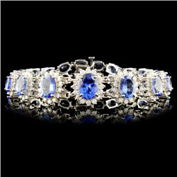 14K Gold 29.40ctw Tanzanite & 2.60ctw Diamond Brac