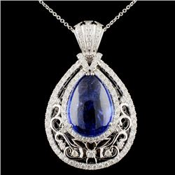 18K Gold 21.64ct Tanzanite & 2.31ctw Diamond Penda