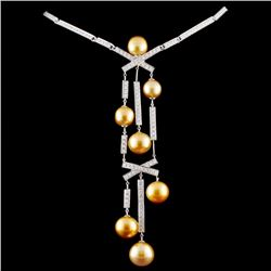 18K Gold 10-12mm South Sea Pearl & 7.37ct Diamond