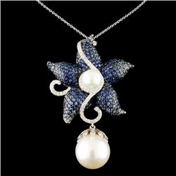 18K Gold 14MM Pearl & 0.69ctw Diamond Pendant
