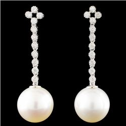 18K Gold 12MM Pearl & 0.50ctw Diamond Earrings