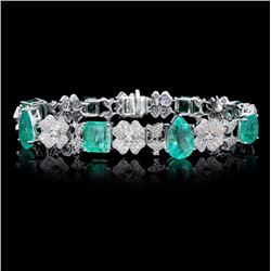 18K Gold 14.56ct Emerald & 2.16ct Diamond Bracelet