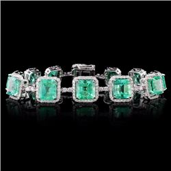 18K Gold 23.14ct Emerald & 2.98ct Diamond Bracelet