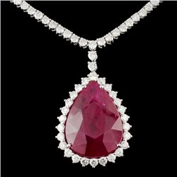 18K Gold 21.25ct Ruby & 4.70ctw Diamond Necklace