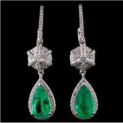 18K Gold 2.38ct Emerald & 0.74ct Diamond Earrings