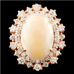 14K Gold 5.82ct Opal & 1.47ctw Diamond Ring