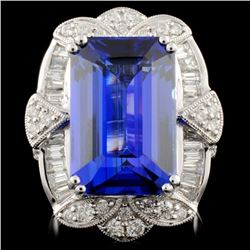 18K White Gold 11.10ct Tanzanite & 1.54ctw Diamond