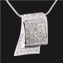 18K White Gold 6.19ctw Diamond Pendant