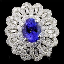 18K White Gold 2.27ct Tanzanite & 2.14ct Diamond R