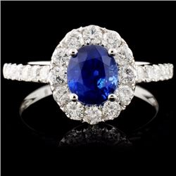 18K Gold 1.29ct Sapphire & 0.79ct Diamond Ring