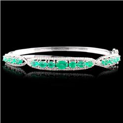 14K Gold 2.60ctw Emerald & 0.63ctw Diamond Bangle
