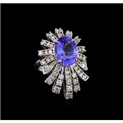 5.95ct Tanzanite and Diamond Ring - 14KT White Gold
