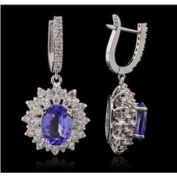 14KT White Gold 7.46ctw Tanzanite and Diamond Earrings