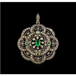0.69ctw Emerald and Diamond Pendant - 18KT Yellow Gold