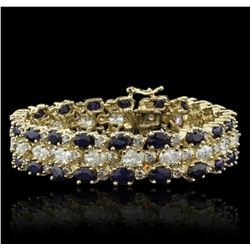 14KT Yellow Gold 22.40ctw Sapphire and Diamond Bracelet