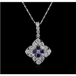 14KT White Gold 0.46ctw Sapphire and Diamond Pendant With Chain