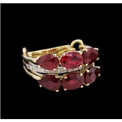 5.75ctw Ruby and Diamond Ring - 14KT Yellow Gold