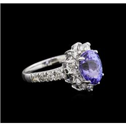 2.97ct Tanzanite and Diamond Ring - 14KT White Gold