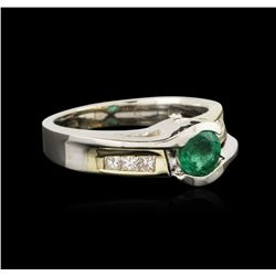 14KT Two-Tone Gold 0.55ct Emerald and Diamond Ring