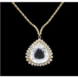 14KT Yellow Gold GIA Certified 17.51ct Aquamarine and Diamond Necklace