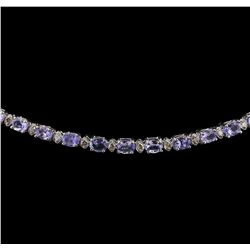 14KT White Gold 12.96ctw Tanzanite and Diamond Necklace