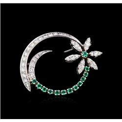 1.00ctw Diamond and Emerald Brooch - 14KT White Gold