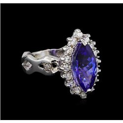 3.00ct Tanzanite and Diamond Ring - 14KT White Gold