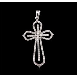 1.00ctw Diamond Cross Pendant - 14KT White Gold