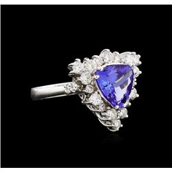 2.10ct Tanzanite and Diamond Ring - 14KT White Gold