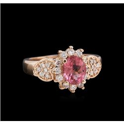 1.15ct Pink Tourmaline and Diamond Ring - 14KT Rose Gold