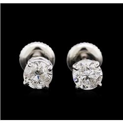 1.21ctw Diamond Stud Earrings - 14KT White Gold