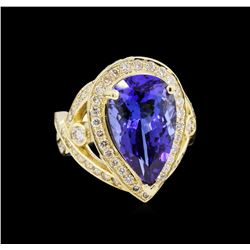 14KT Yellow Gold 7.74ct GIA Cert Tanzanite and Diamond Ring